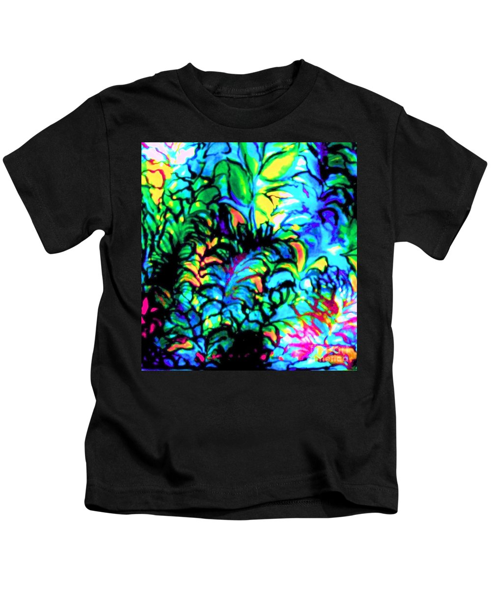 Rainbow Colors Kids T-Shirt featuring the painting Coral Reef Beauty by Hazel Holland