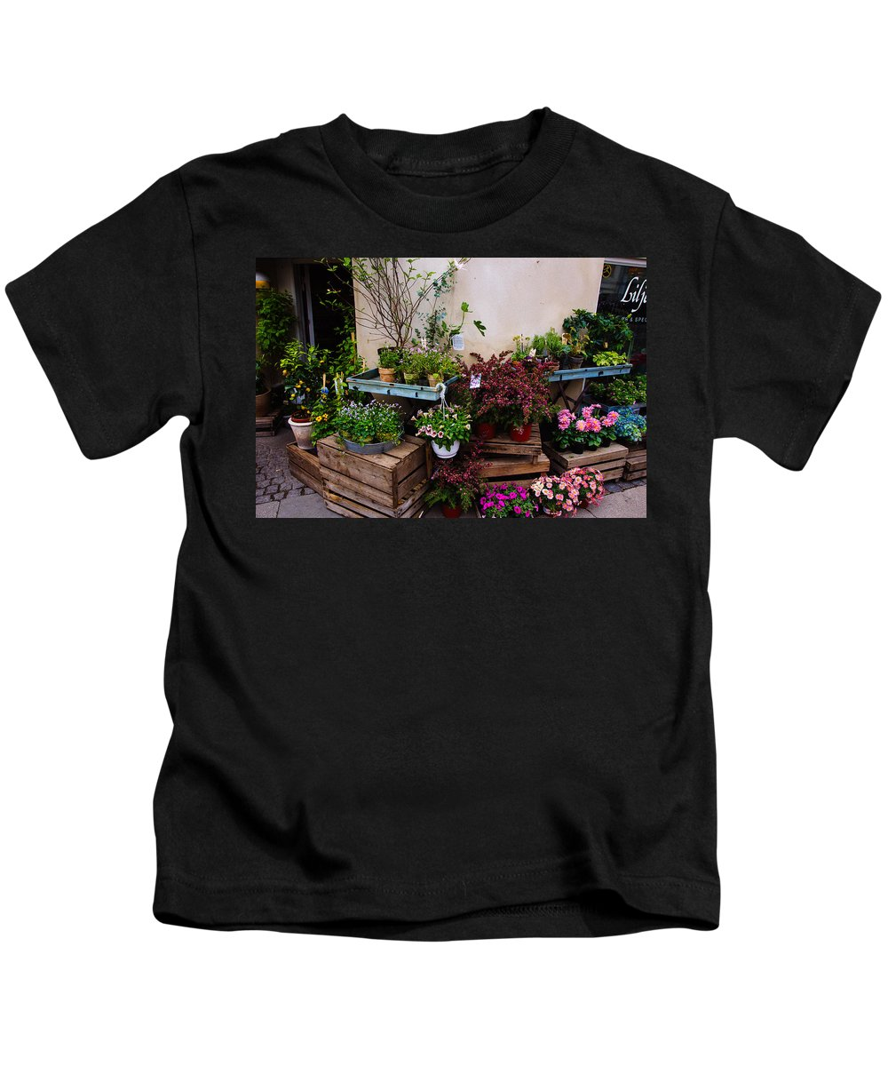 Store Kids T-Shirt featuring the photograph Corner Flower Store by Pati Photography