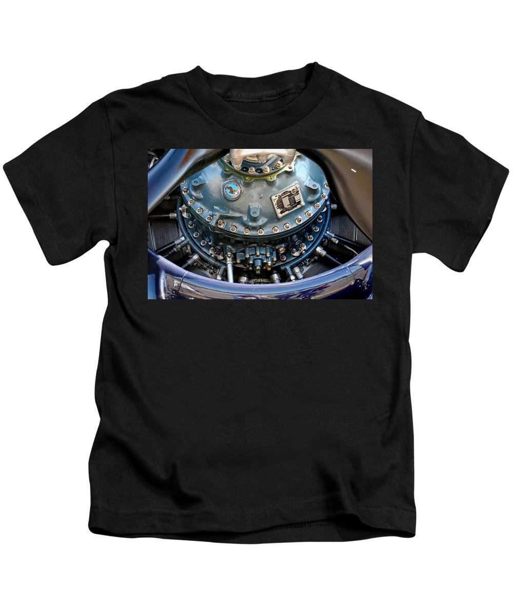F4u Kids T-Shirt featuring the photograph Corsair R2800 Radial by David Hart