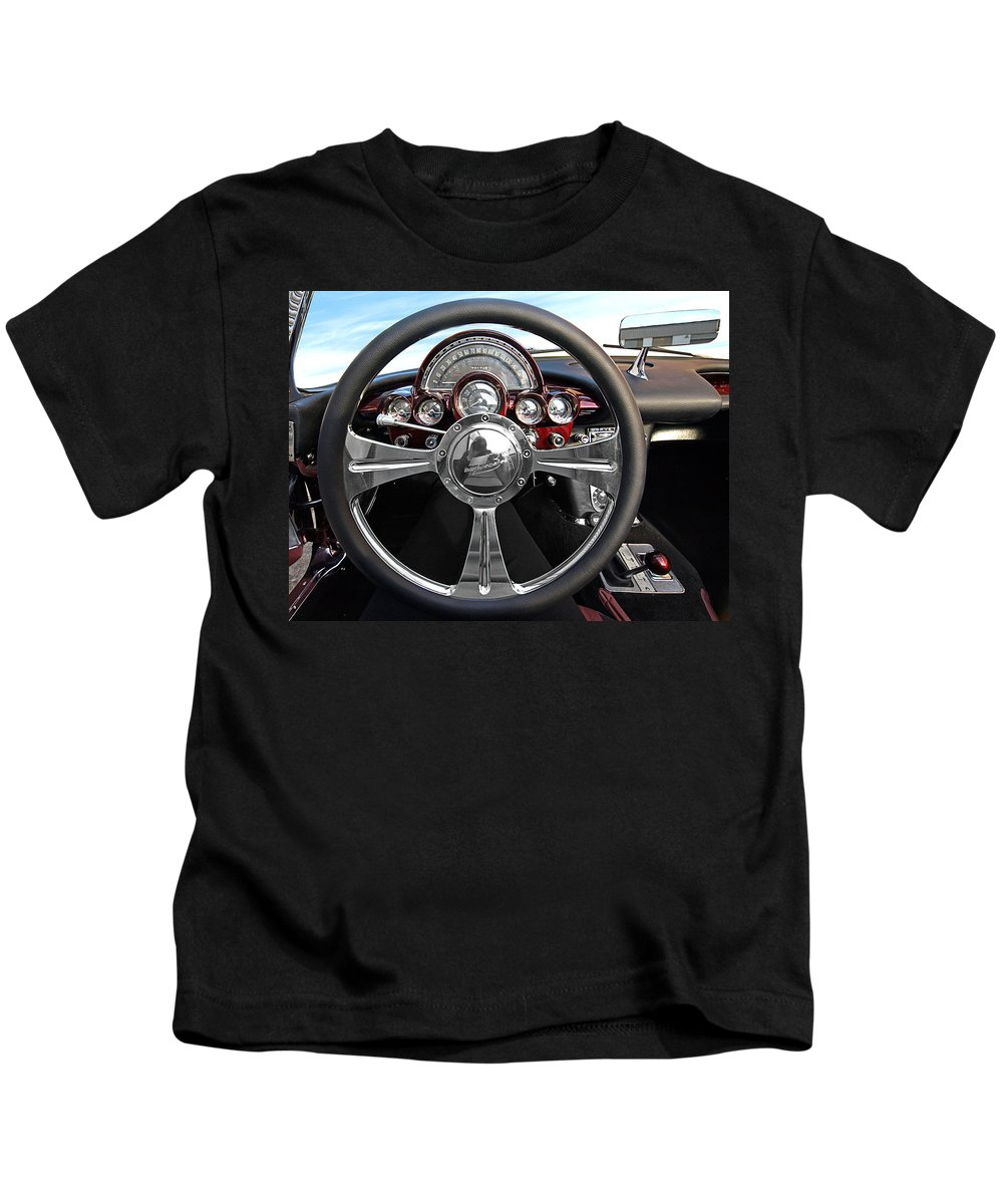 Corvette Kids T-Shirt featuring the photograph Corvette C1 - In The Driver's Seat by Gill Billington