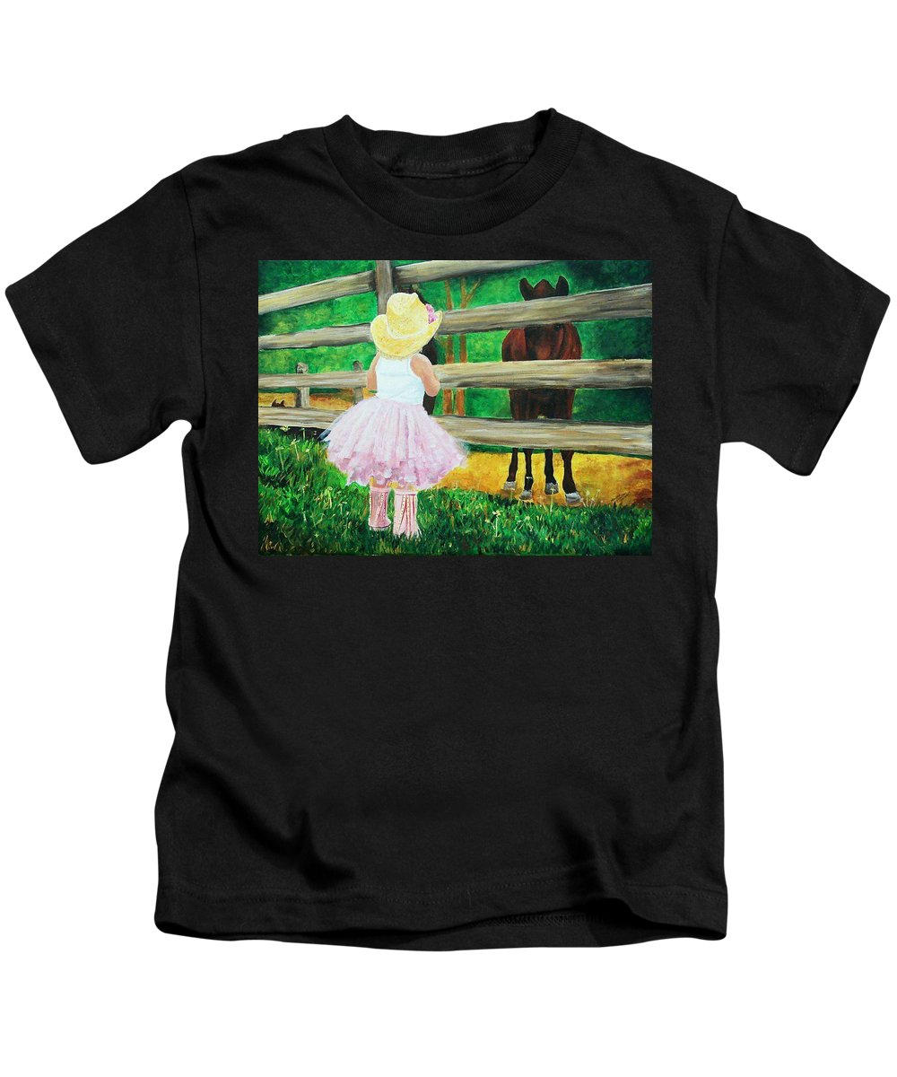 Little Girls Kids T-Shirt featuring the painting Country Meets City by Frankie Picasso