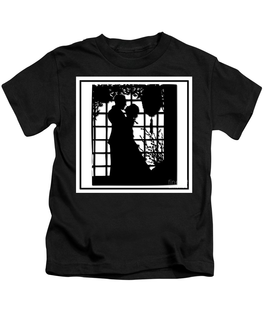 Couples Kids T-Shirt featuring the digital art Couple In Love Silhouette by Rose Santuci-Sofranko