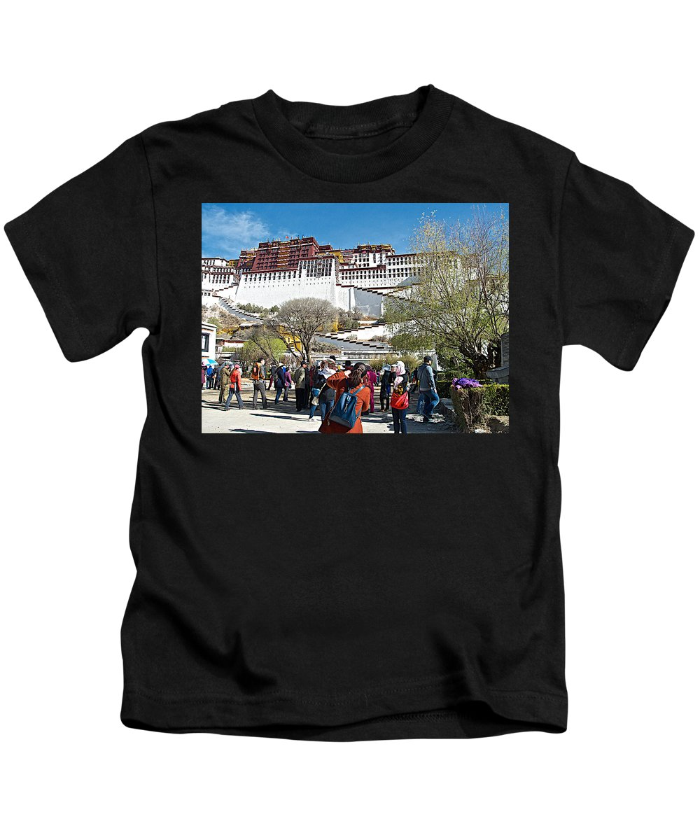 Courtyard Of Potala Palace In Lhasa Kids T-Shirt featuring the photograph Courtyard Of Potala Palace In Lhasa-tibet by Ruth Hager
