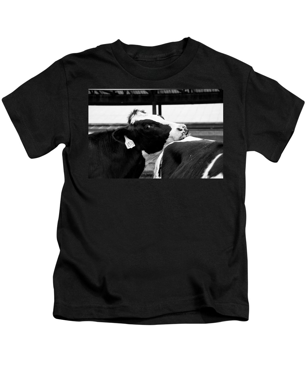 Animal Kids T-Shirt featuring the photograph Cow Just Resting His Chin by Thomas Woolworth