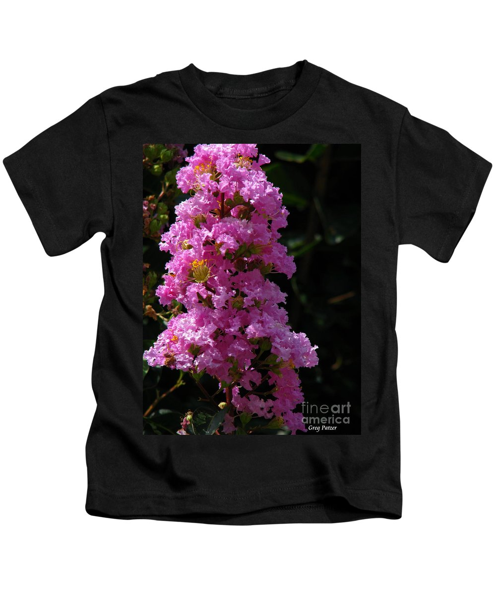 Art For The Wall...patzer Photography Kids T-Shirt featuring the photograph Crape Myrtle by Greg Patzer