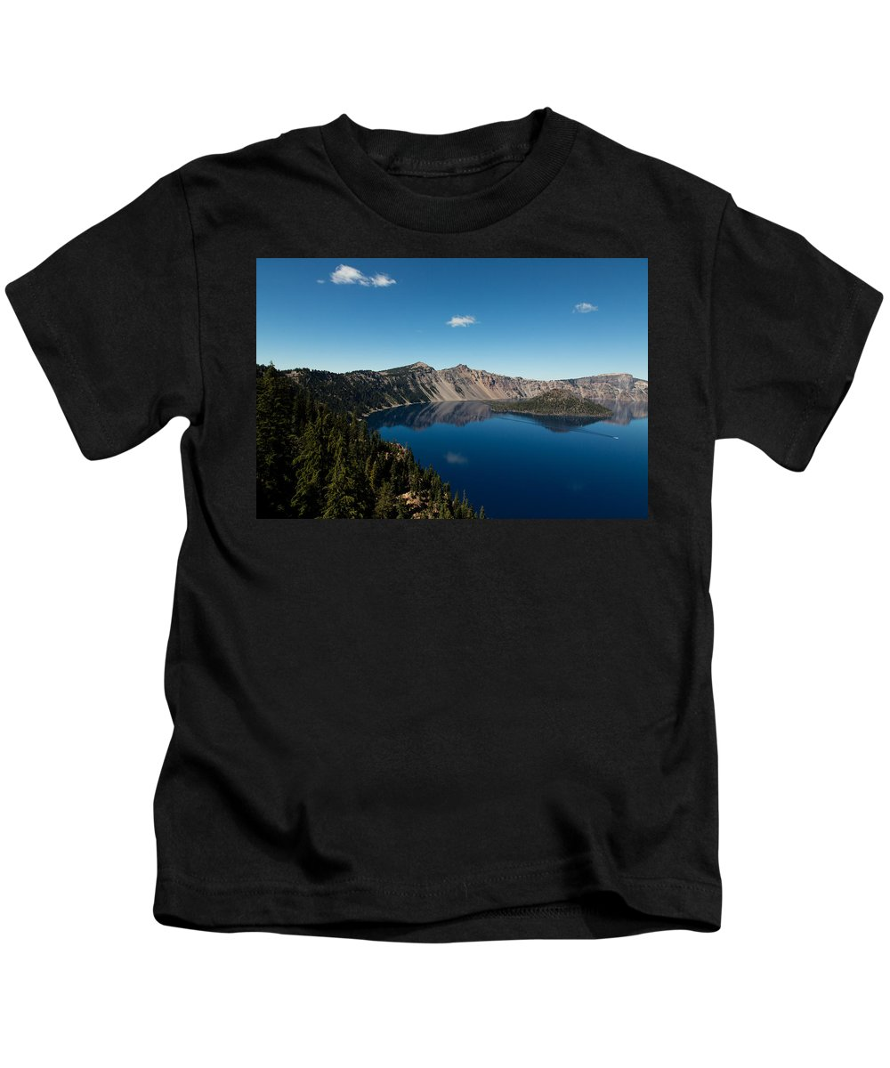Crater Lake Kids T-Shirt featuring the photograph Crater Lake And Boat by John Daly