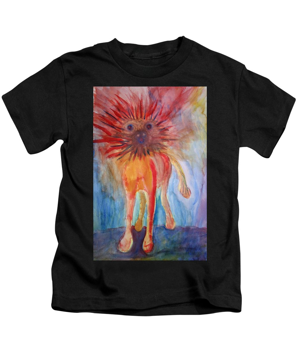 Troll Kids T-Shirt featuring the painting It Isn't Easy Being The Crazy Animal by Hilde Widerberg