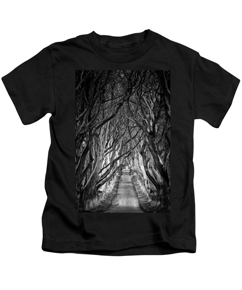 Dark Hedges Kids T-Shirt featuring the photograph Creepy Dark Hedges by Nigel R Bell