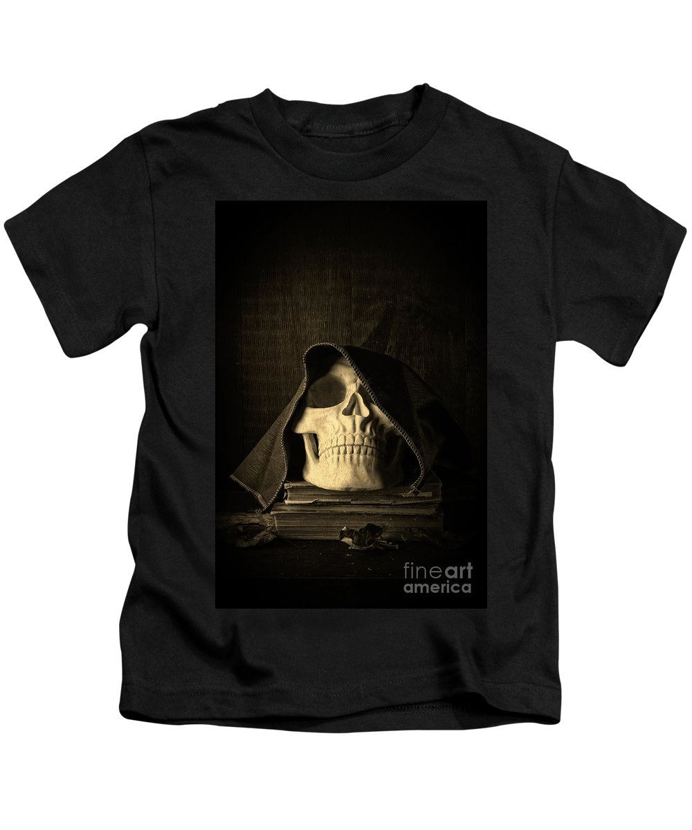 Halloween Kids T-Shirt featuring the photograph Creepy Hooded Skull by Edward Fielding
