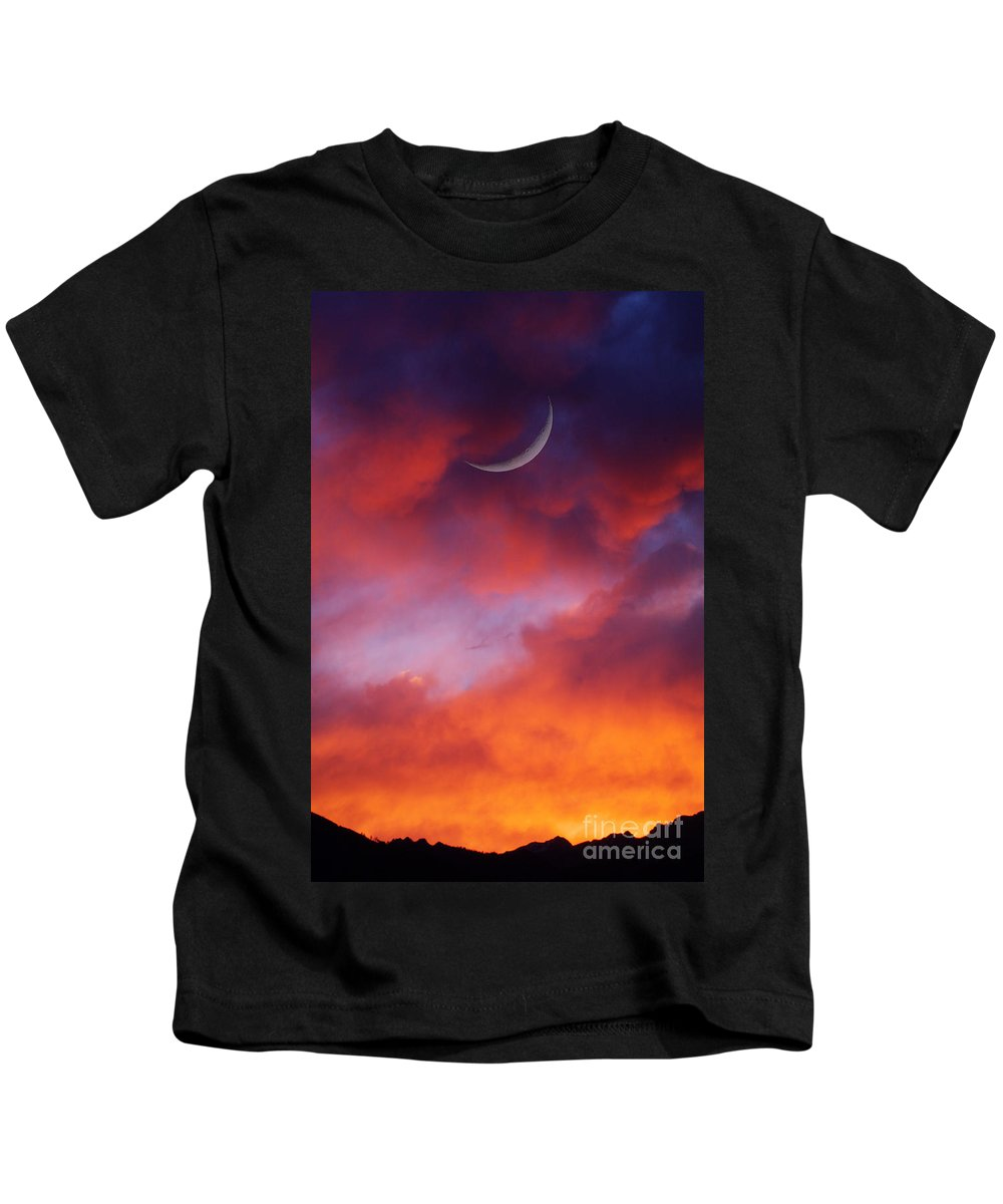 Moon Photograph Kids T-Shirt featuring the photograph Crescent Moon In Purple by Joseph J Stevens