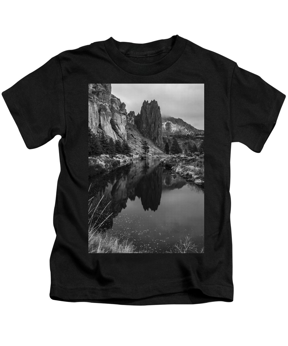 Smith Kids T-Shirt featuring the photograph Crooked River Reflection Bw by Curtis Knight