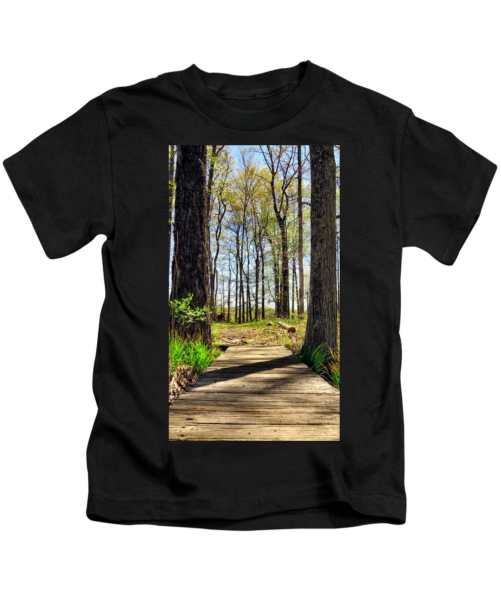 Bridge Kids T-Shirt featuring the photograph Crossing Over by Art Dingo