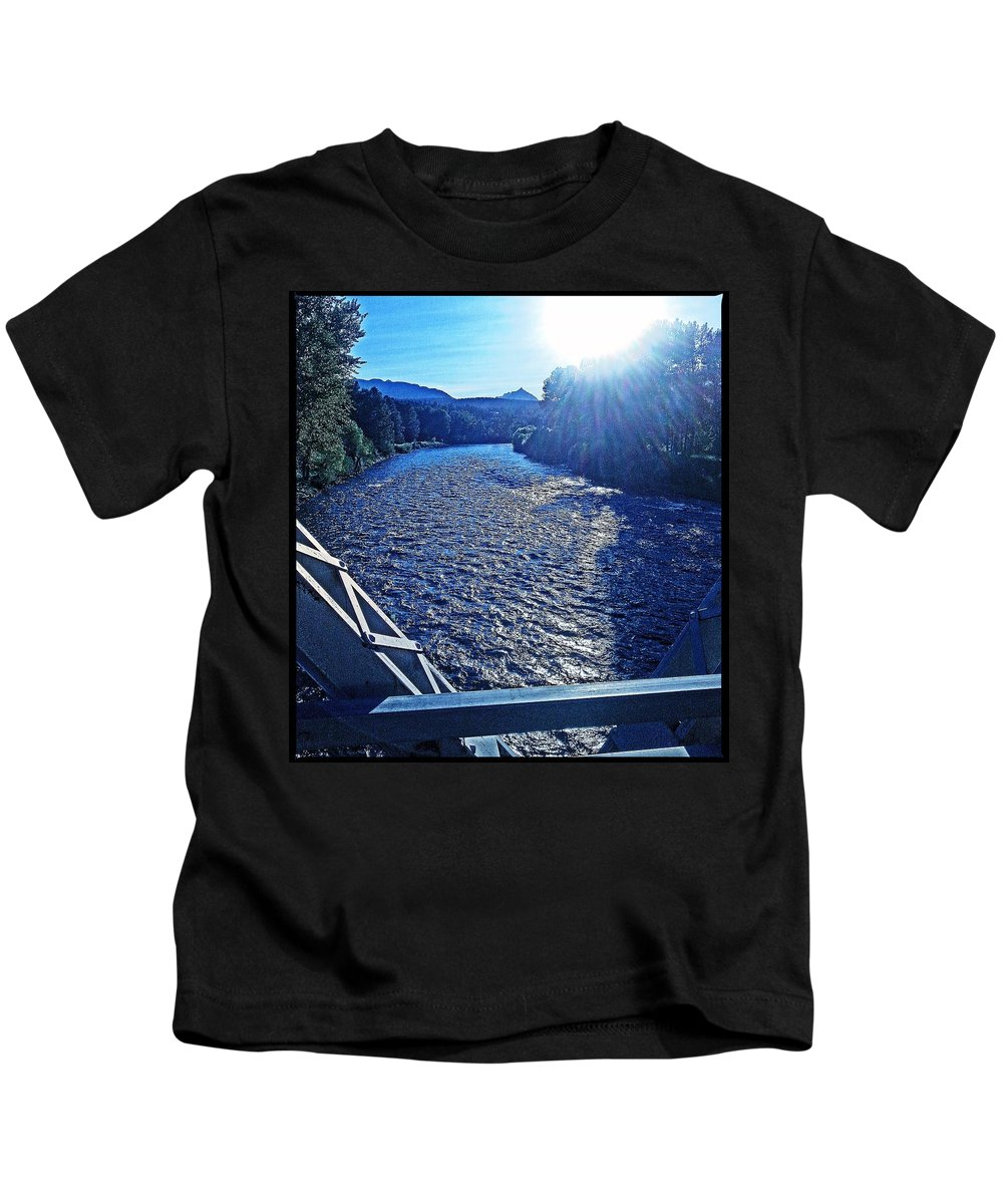 Photo Photograph Bitterroot River Montana Landscape Kids T-Shirt featuring the photograph Crossing The Final Bridge Home by Joseph J Stevens