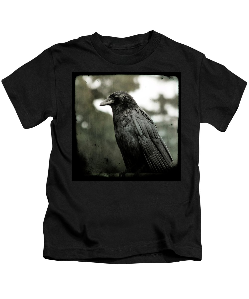 Weather Kids T-Shirt featuring the photograph Crow In The Summer Rain by Gothicrow Images