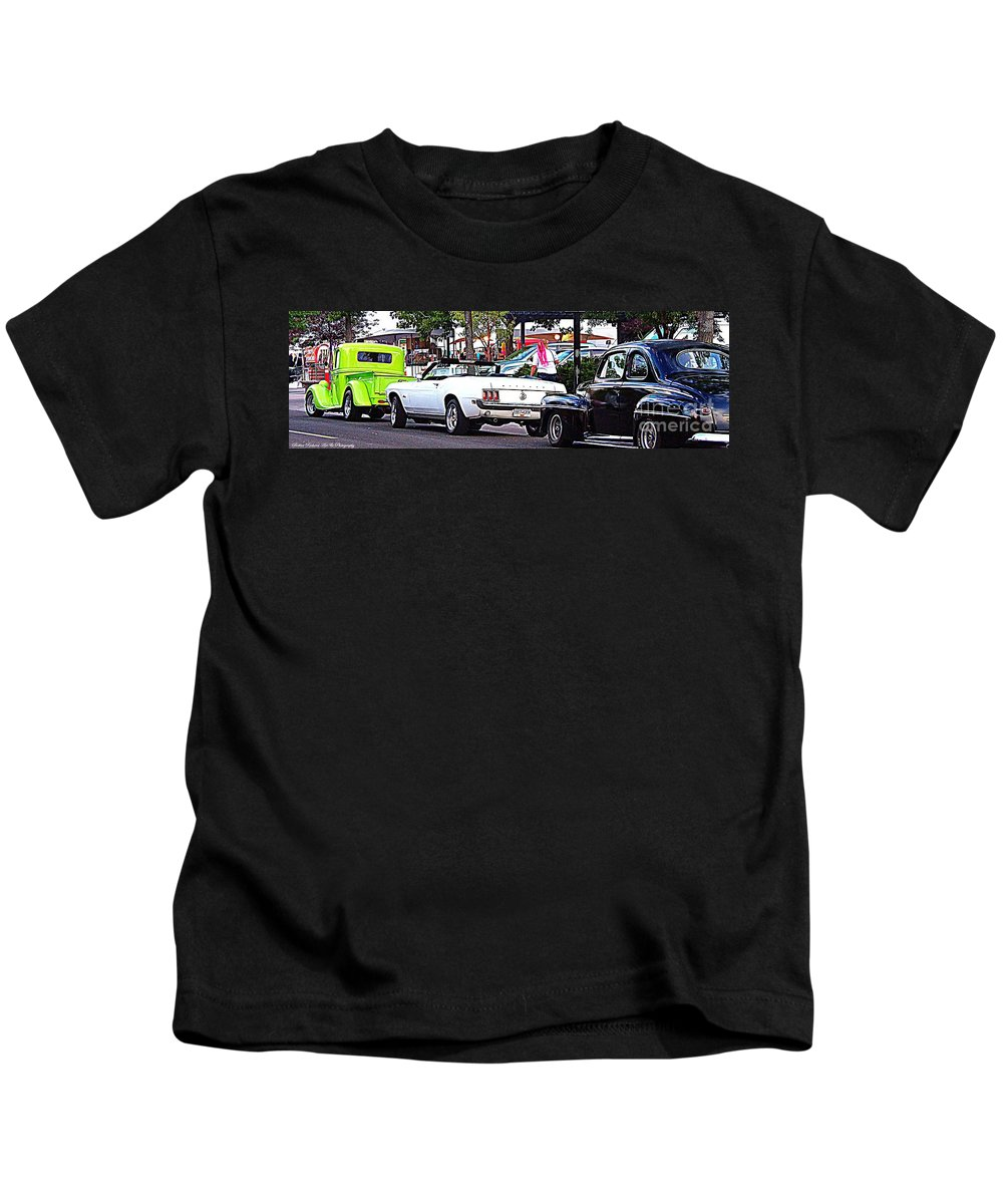 Classic Car Event Kids T-Shirt featuring the photograph Cruise Line by Bobbee Rickard