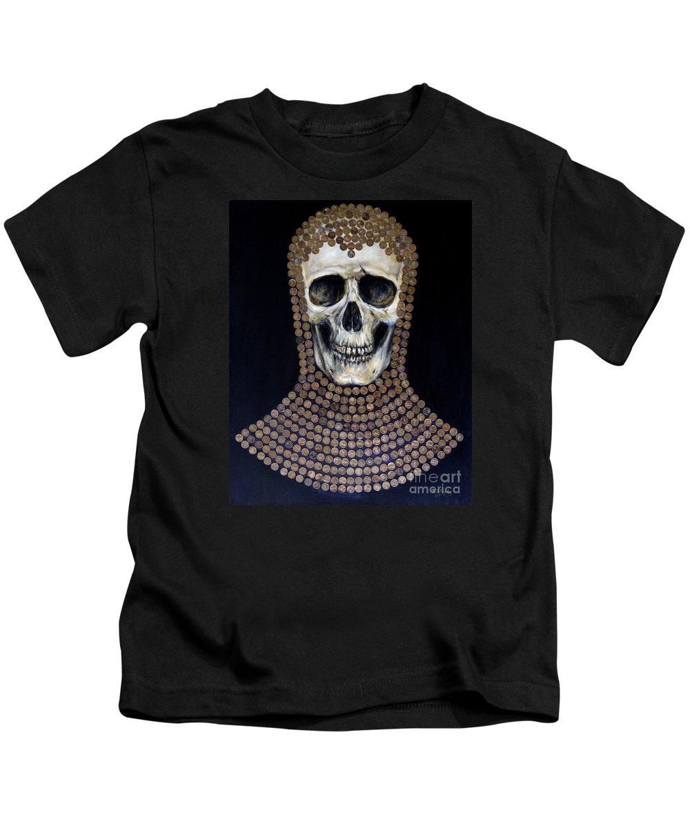 Skull Kids T-Shirt featuring the painting Crusader by Arturas Slapsys