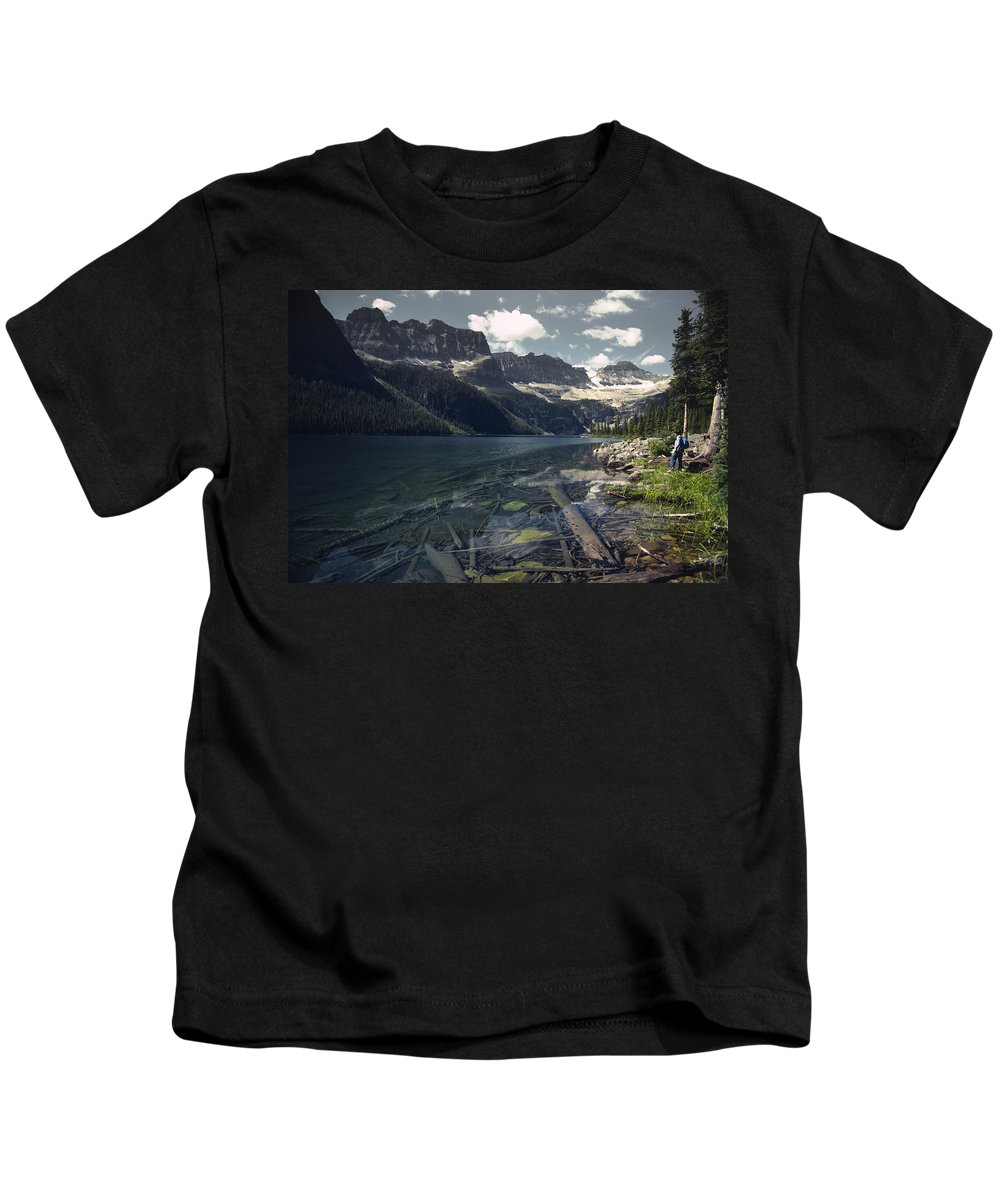 Agriculture Kids T-Shirt featuring the photograph Crystal Clear Mountain Lake by Roderick Bley