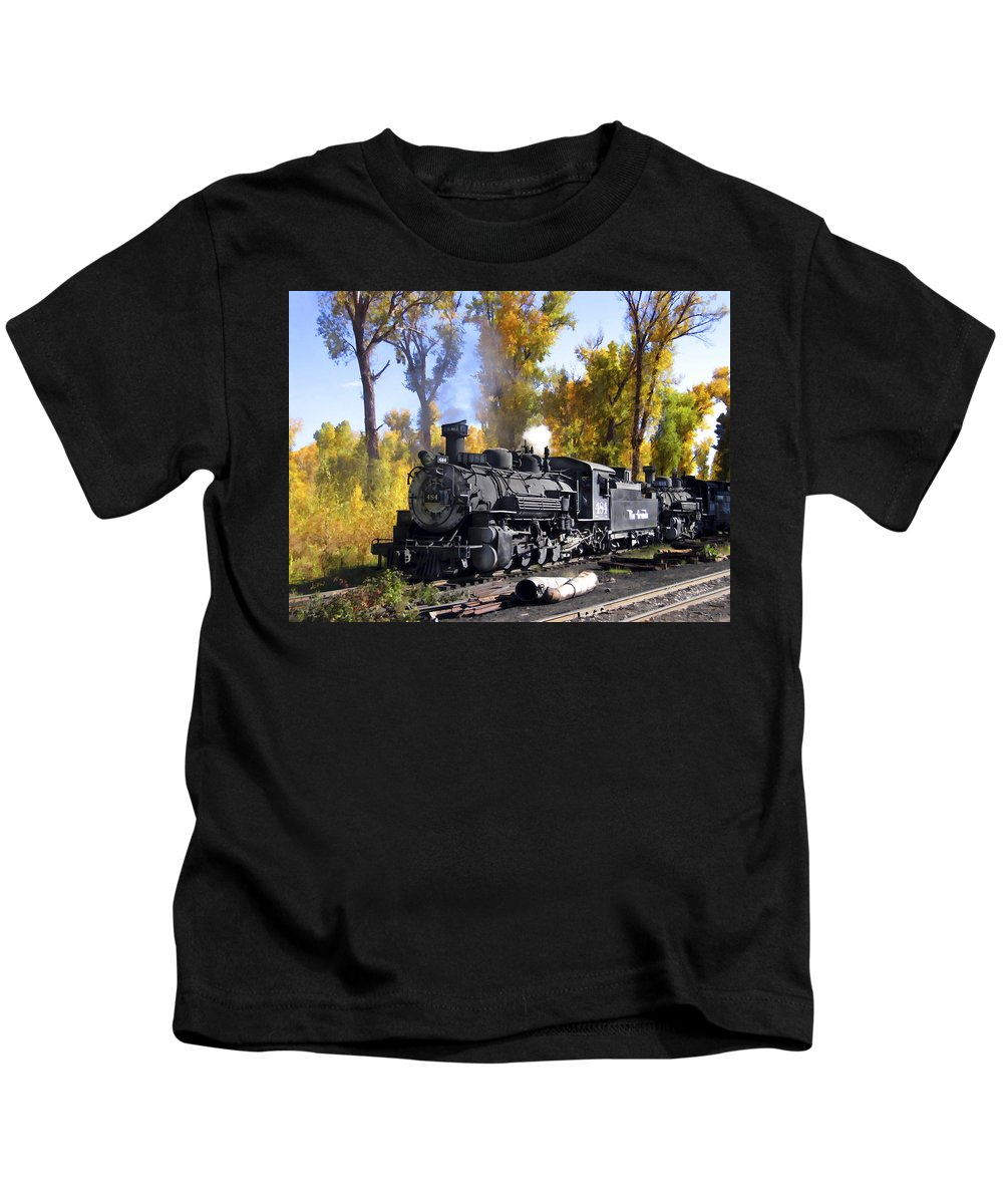 Train Kids T-Shirt featuring the photograph Cumbres And Toltec Railroad by Kurt Van Wagner