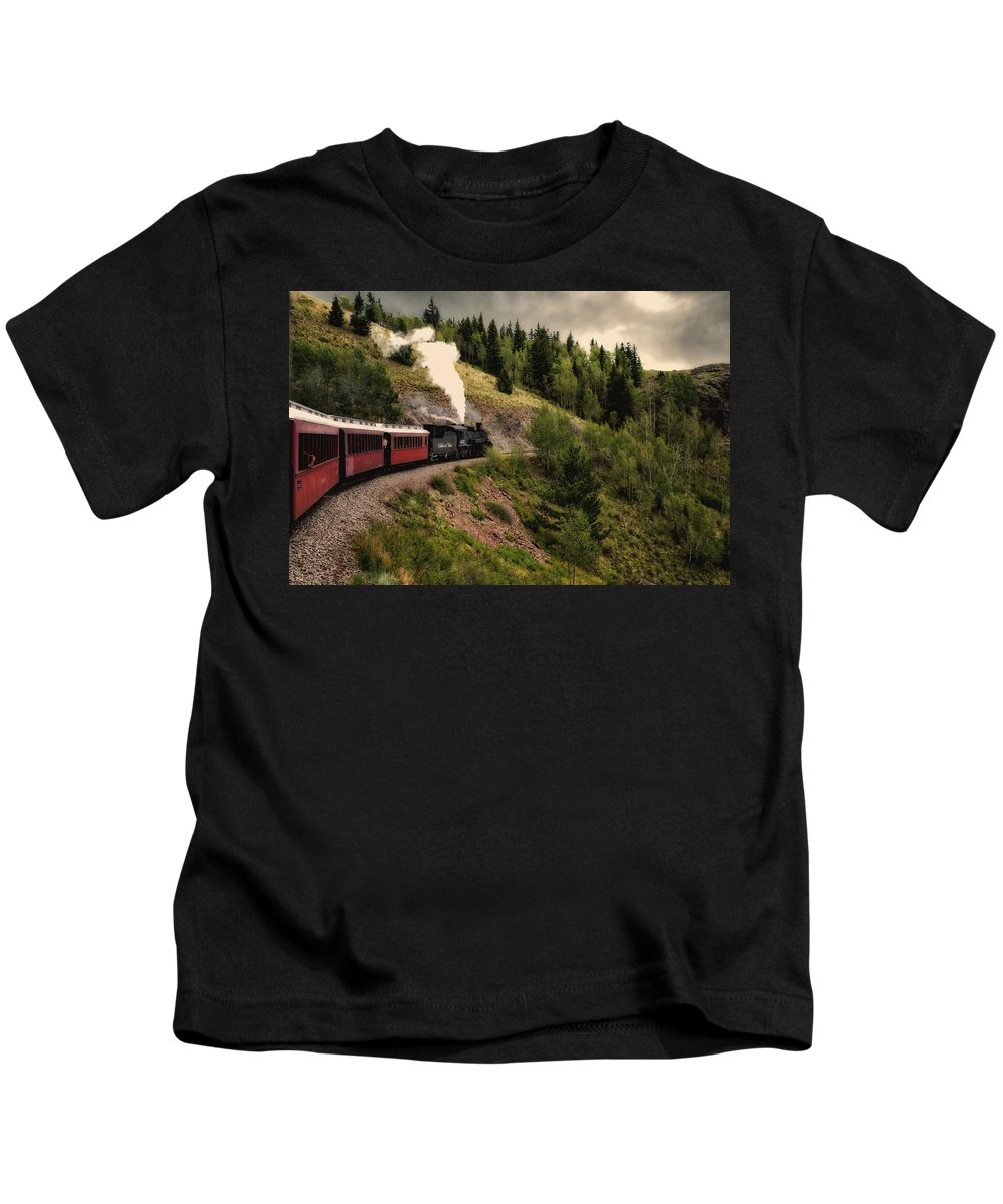 Cumbres Kids T-Shirt featuring the photograph Cumbres And Toltec Train Co And Hm by Greg Kluempers