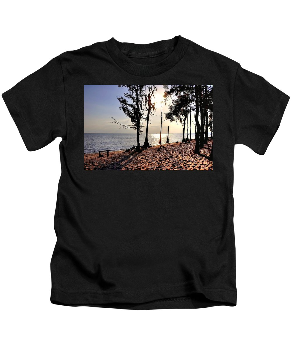 Cypress Kids T-Shirt featuring the photograph Cypress Shore by Charlotte Schafer