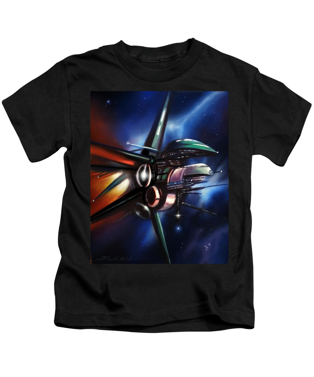 Starships Kids T-Shirt featuring the painting Daedalus Destroyer by James Christopher Hill