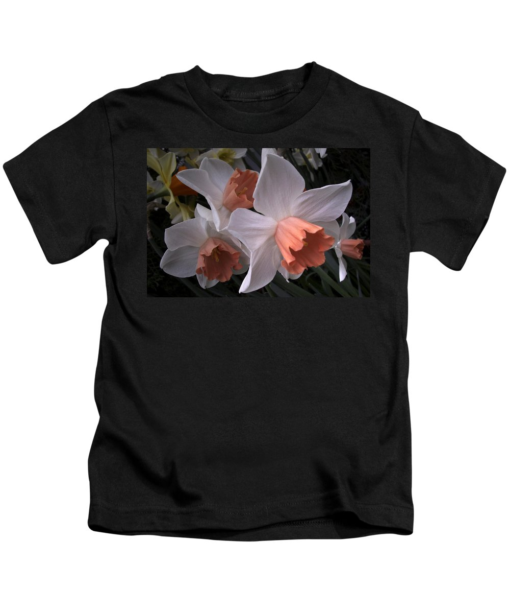 Flower Kids T-Shirt featuring the photograph Daffodils With Coral Center by Nancy Griswold