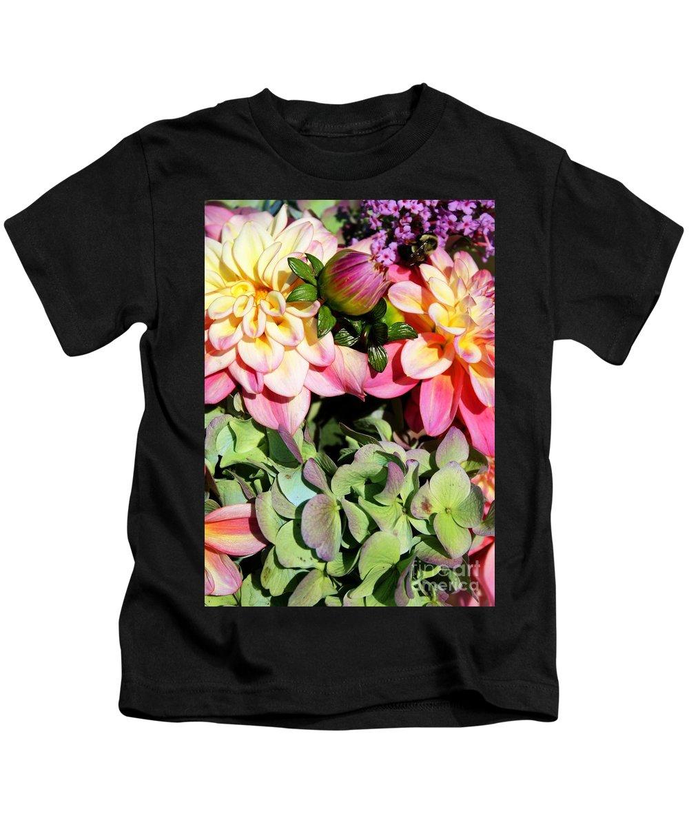 Dahlias Kids T-Shirt featuring the photograph Dahlias And Hydrangeas Bouquet by Carol Groenen