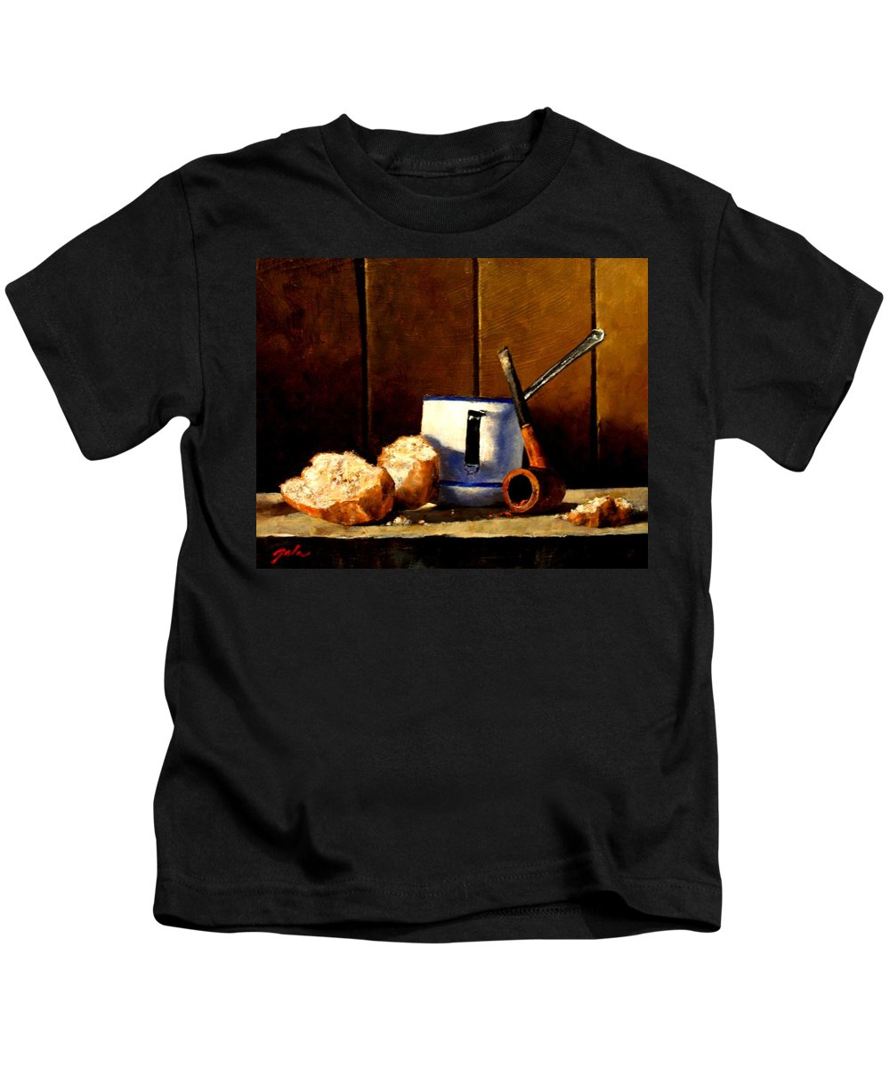 Still Life Kids T-Shirt featuring the painting Daily Bread Ver 1 by Jim Gola