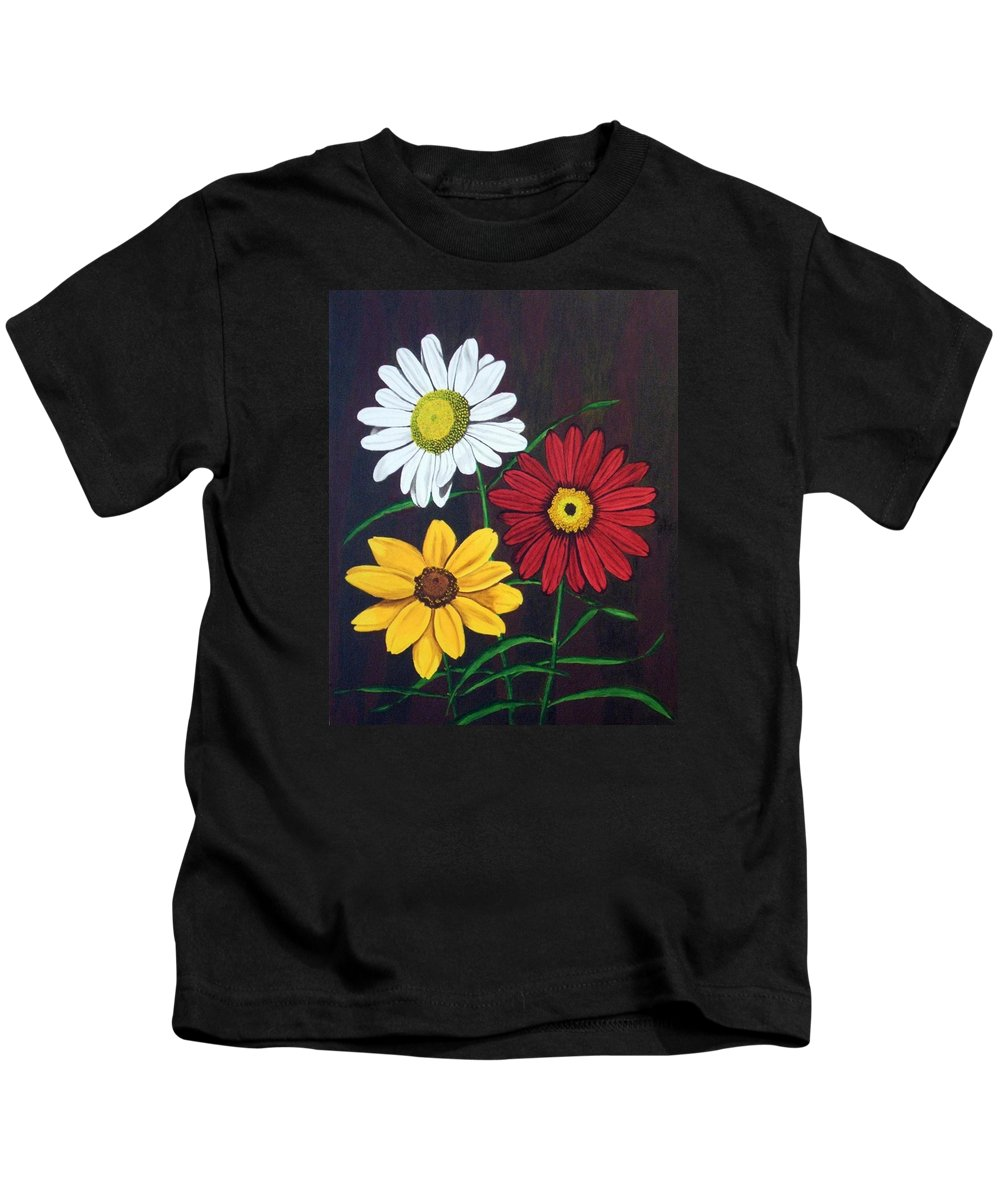 Daisy Flowers Kids T-Shirt featuring the painting Daisy Mae by Brandy House