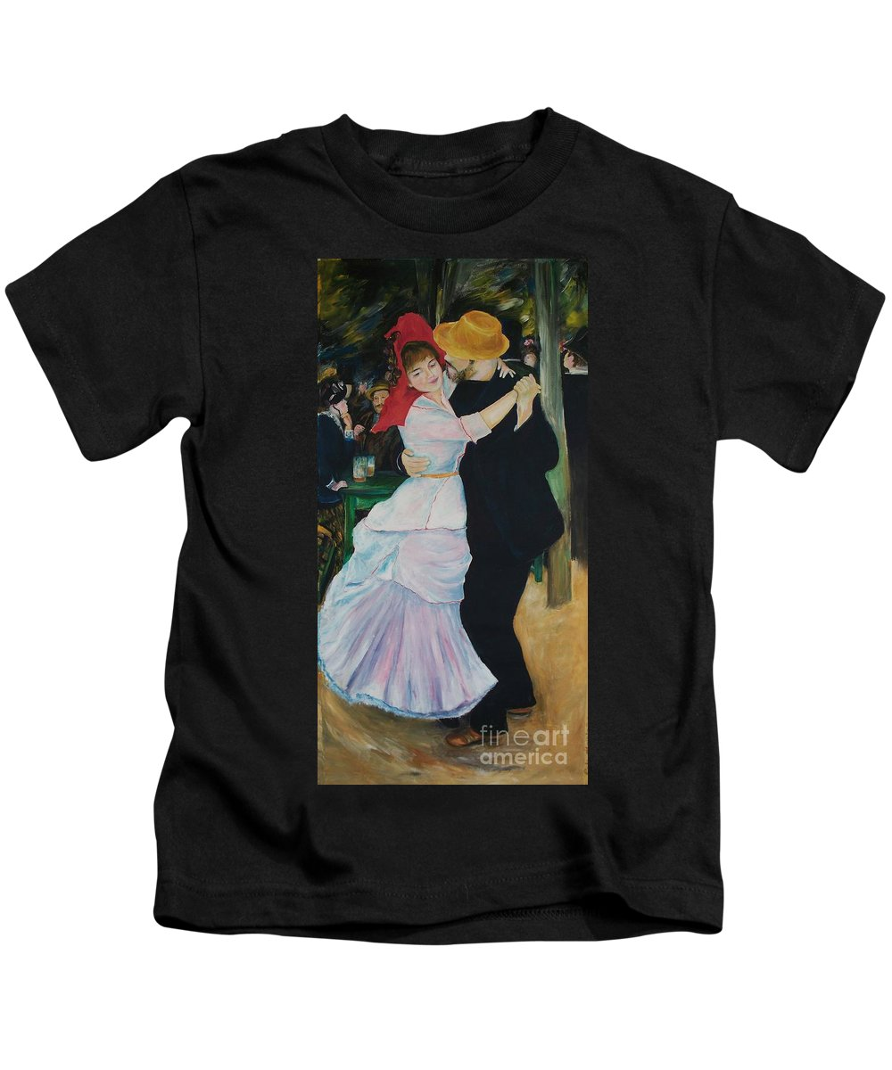 Impressionism Kids T-Shirt featuring the painting Dance At Bougival Renoir by Eric Schiabor