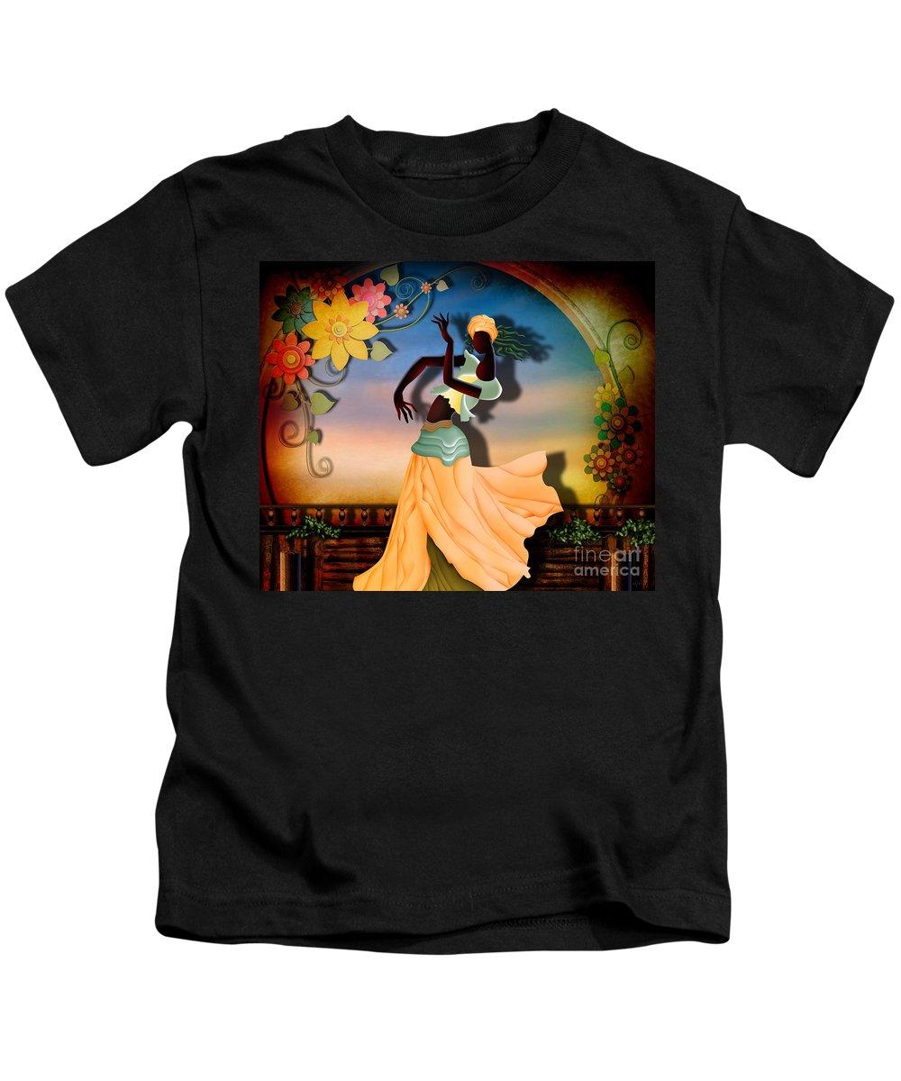 Digital Kids T-Shirt featuring the digital art Dancer Of The Balcony by Peter Awax