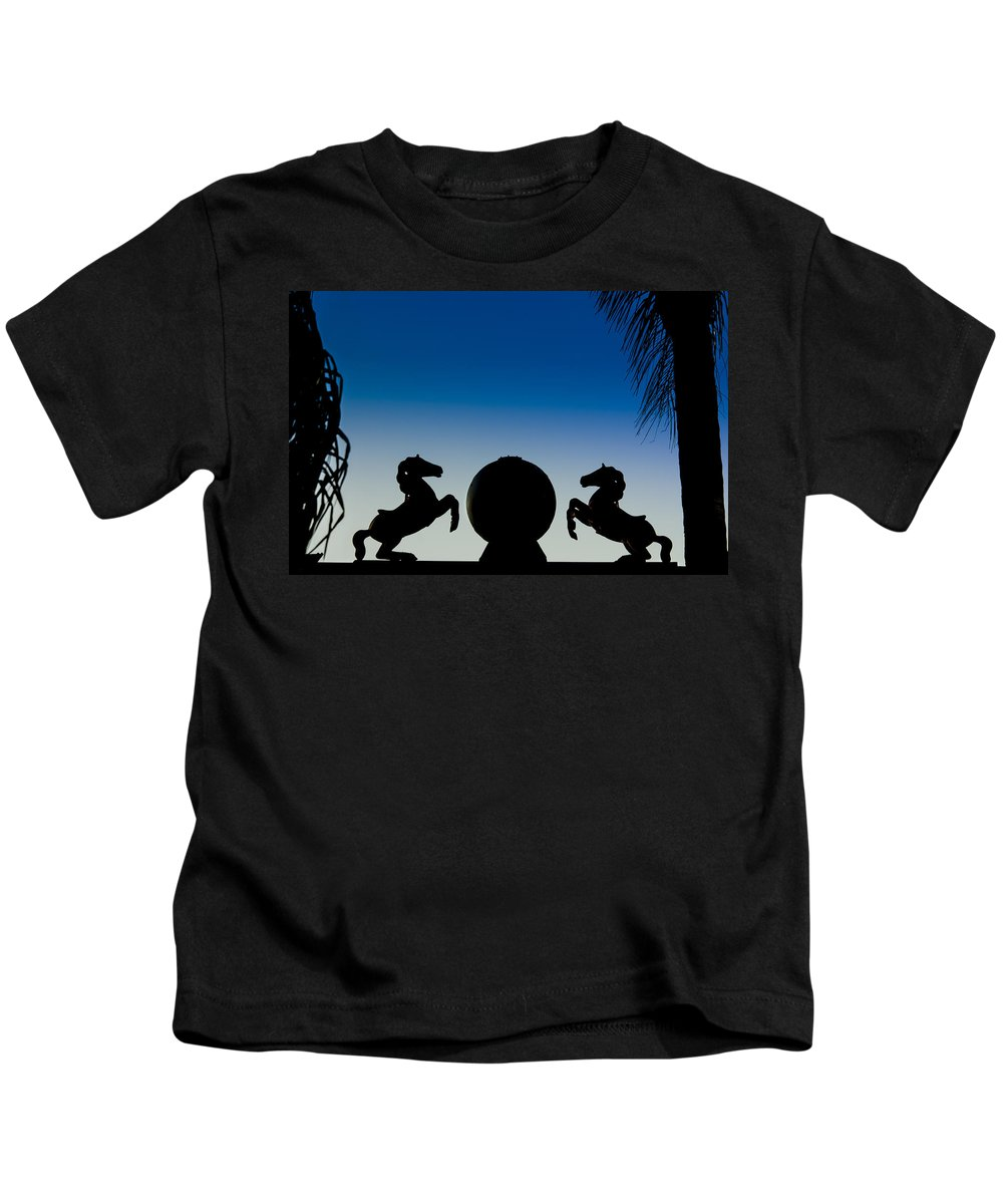 Blue Kids T-Shirt featuring the photograph Dancing Horses by Carolyn Marshall