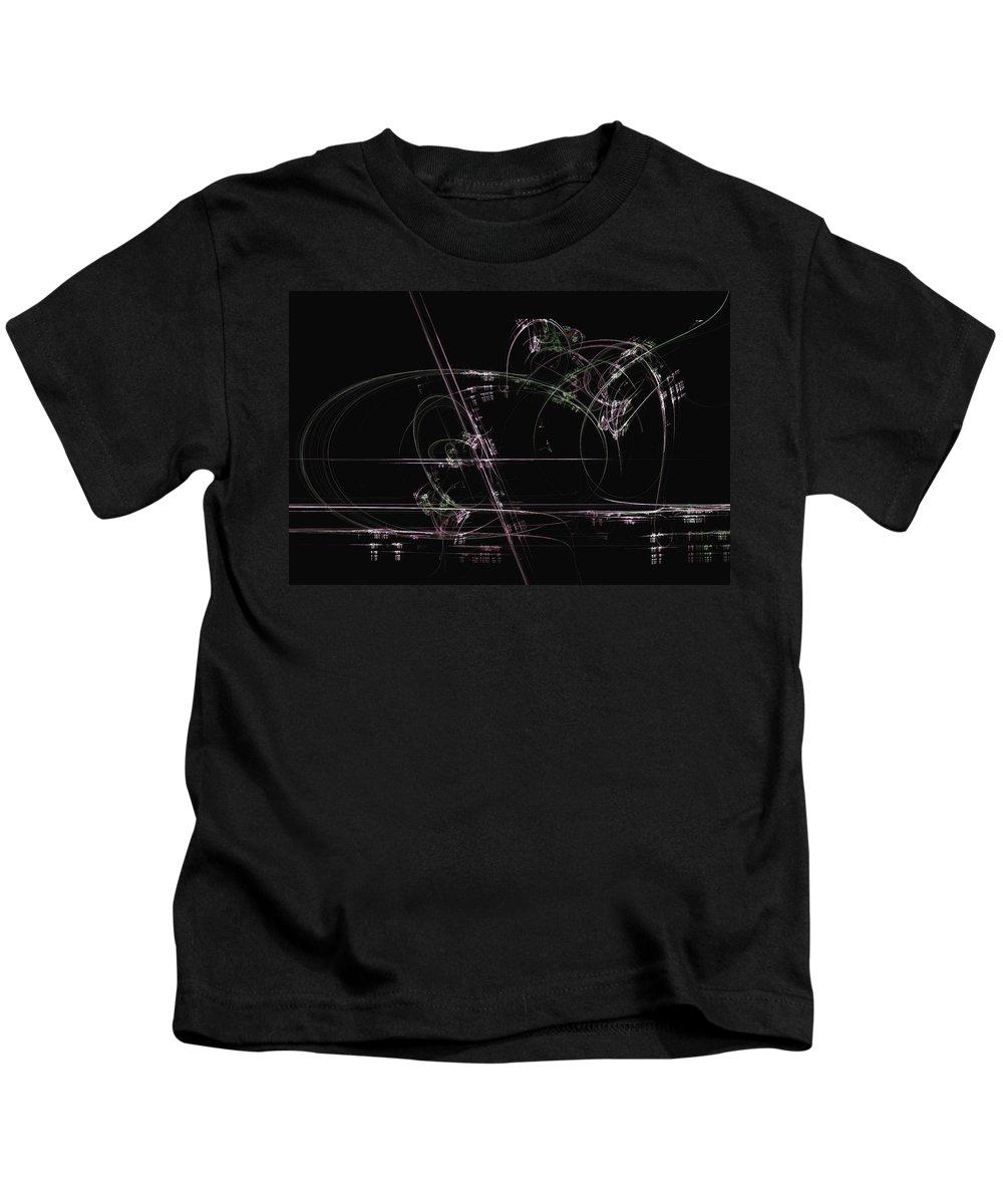 Fractal Art Kids T-Shirt featuring the digital art Dancing Lines by David Ridley