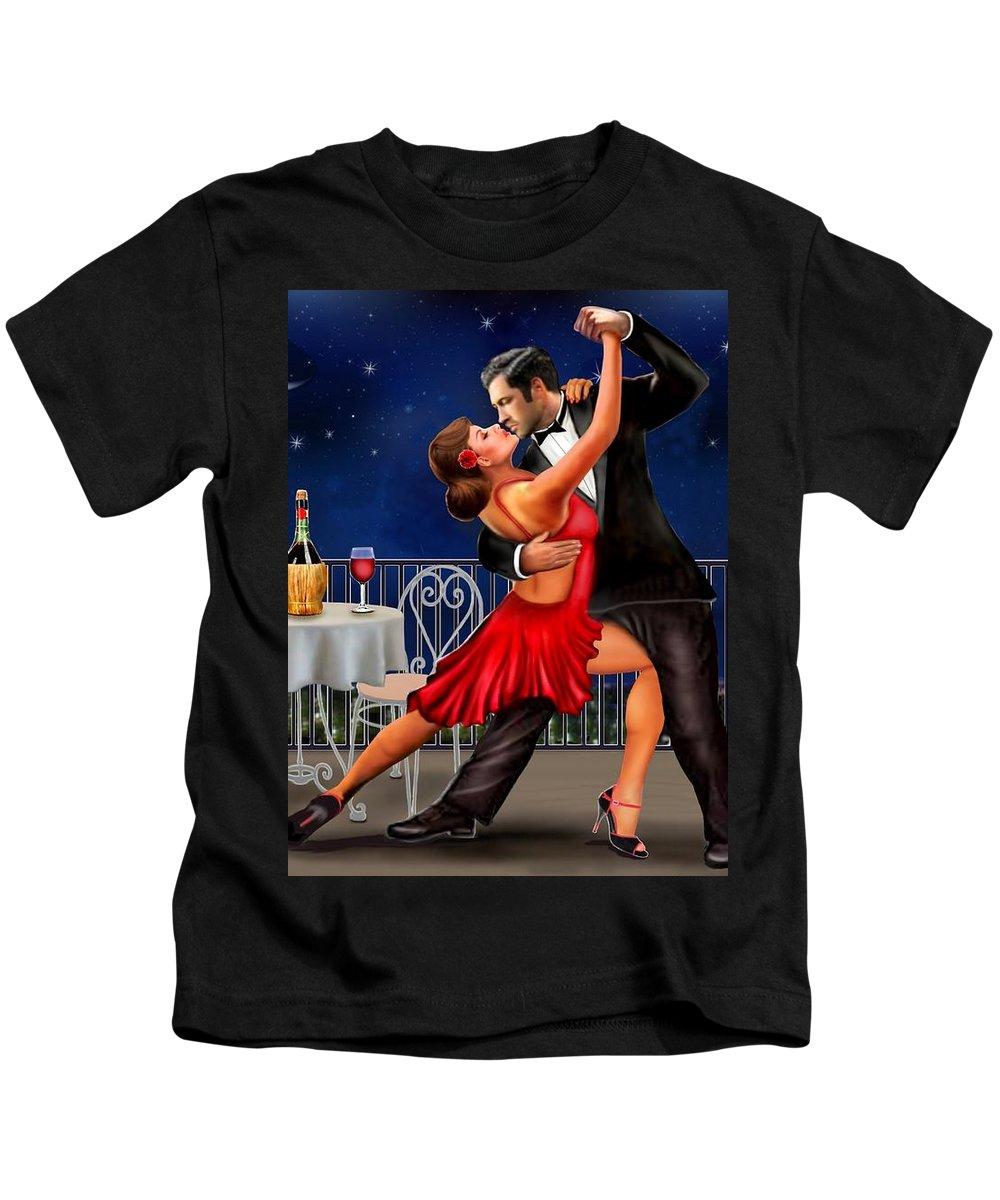 Dancing Under The Stars Kids T-Shirt featuring the digital art Dancing Under The Stars by Glenn Holbrook