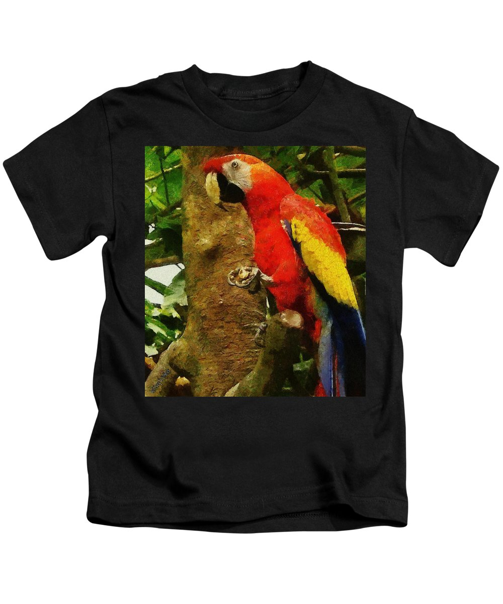 America Kids T-Shirt featuring the painting Danse Macaw by Jeffrey Kolker