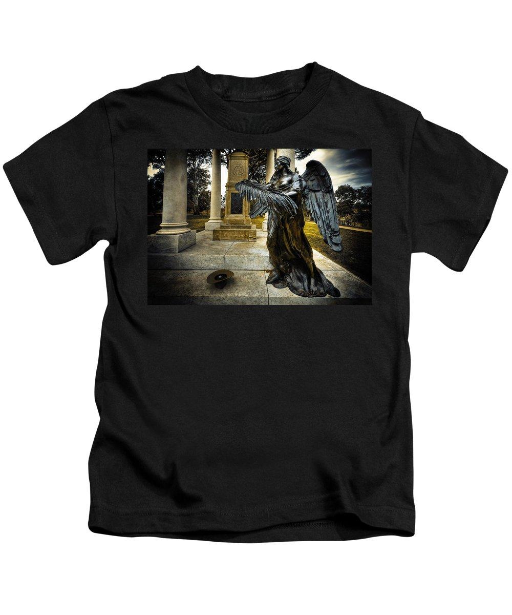 Angel Kids T-Shirt featuring the photograph Dark Angel by Wayne Sherriff