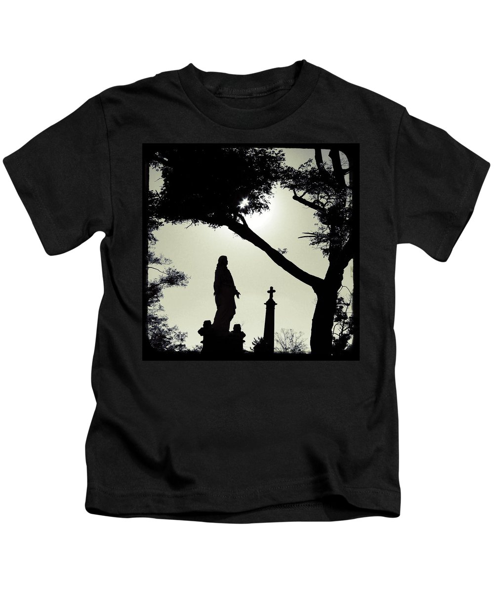 Blackish Kids T-Shirt featuring the photograph Dark Mysterious Light by Gothicrow Images