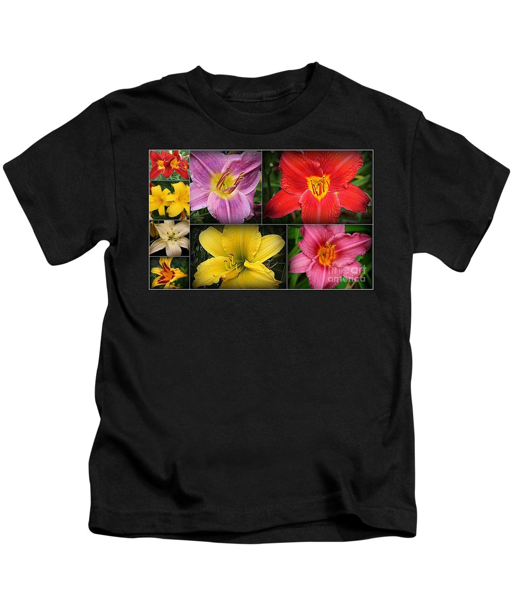 Lilies Kids T-Shirt featuring the photograph Daylily Days by Dora Sofia Caputo Photographic Design and Fine Art