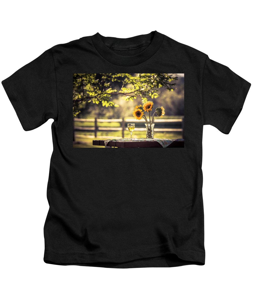 Sunflower Kids T-Shirt featuring the photograph Days Of Summer by Jacquelyn Crady