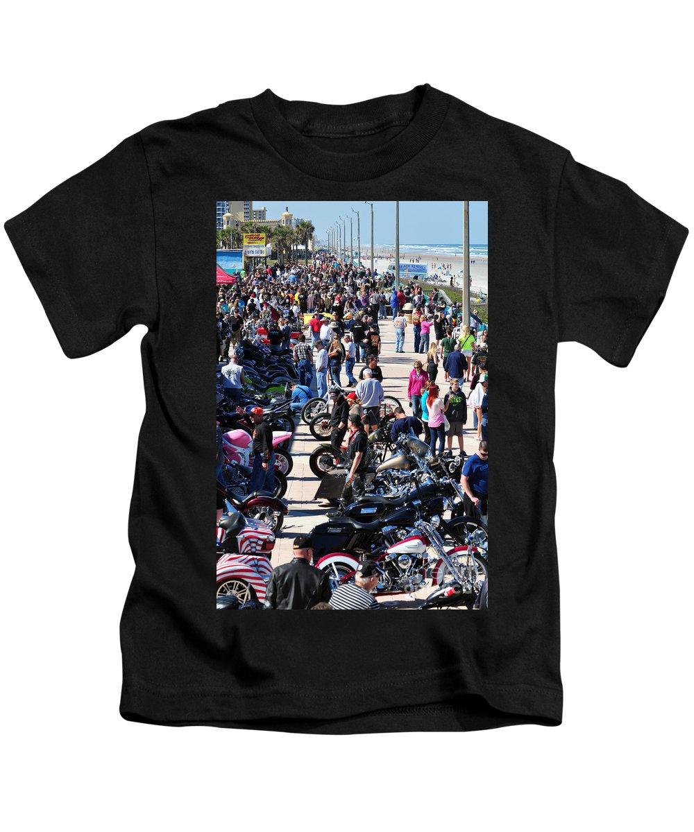 Daytona Kids T-Shirt featuring the photograph Daytona Bike Week by Davids Digits