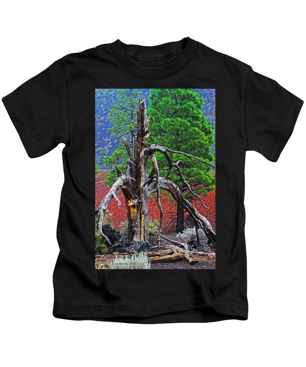 Dead Tree On Cinder At Sunset Crate Kids T-Shirt featuring the photograph Dead Tree On Cinder At Sunset Crater by Tom Janca