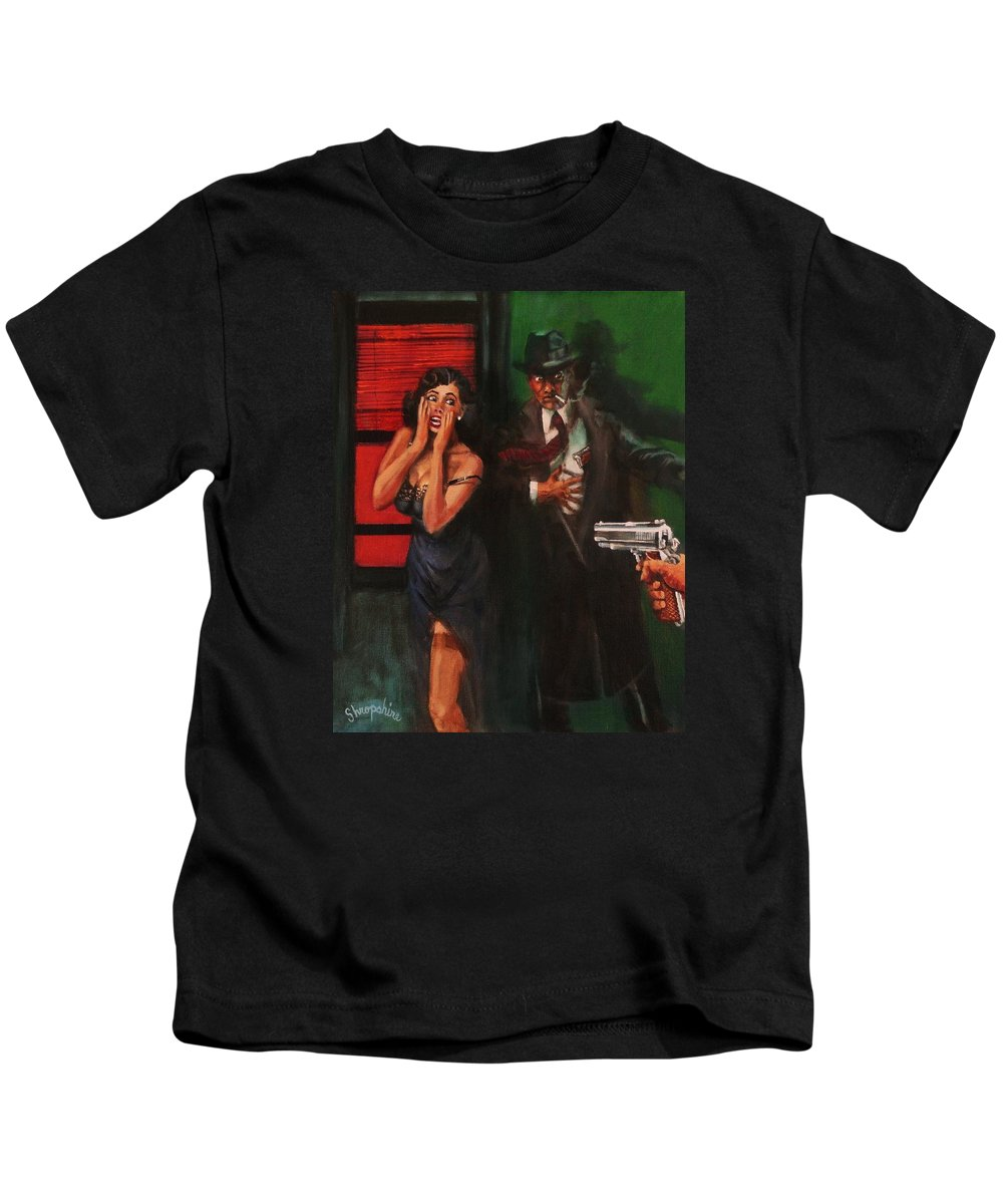 Art Noir Kids T-Shirt featuring the painting Deadly Surprise by Tom Shropshire