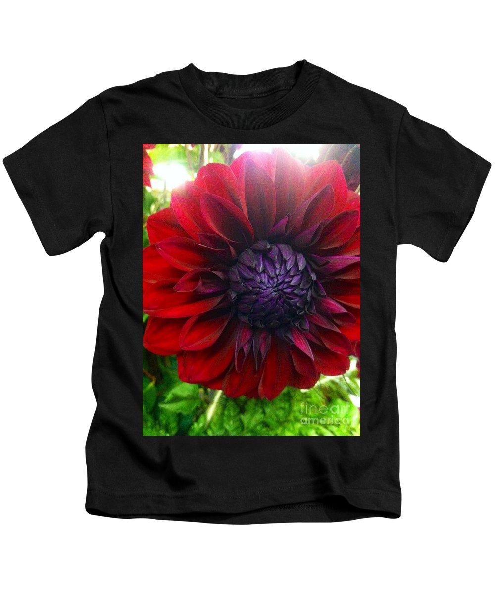 Dahlia Kids T-Shirt featuring the photograph Deep Red To Purple Dahlia Flower by Susan Garren
