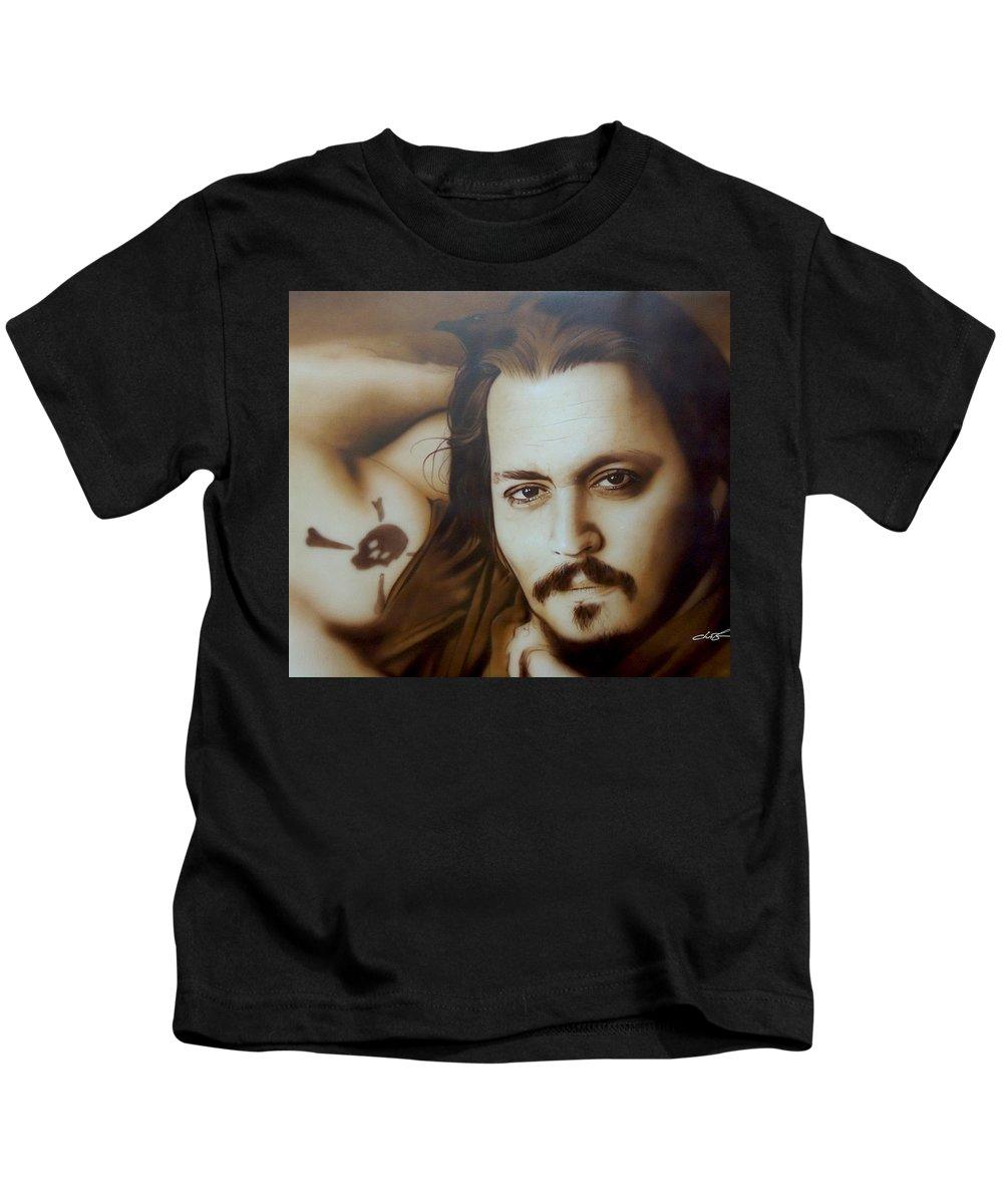 37cb5239 Johnny Depp Kids T-Shirt featuring the painting Depp II by Christian  Chapman Art