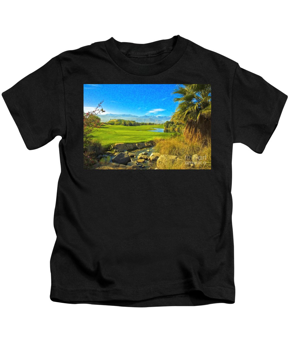 Golfing At Desert Willow Golf Course Palm Desert Ca Kids T-Shirt featuring the photograph Desert Golf Resort Pastel Photograph by David Zanzinger