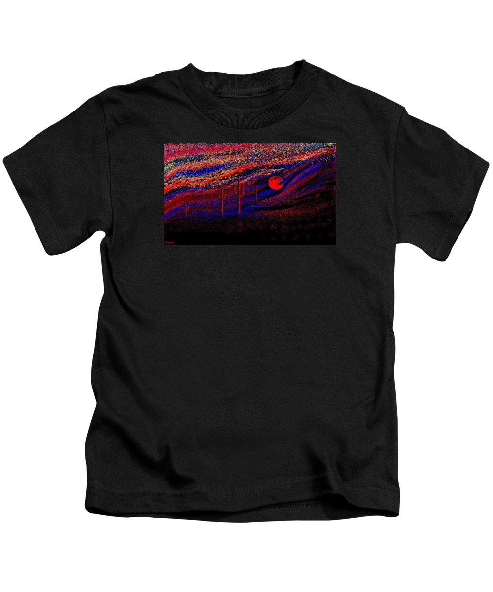 Desert Sunset Quickly Sketched In Four And Half Hours.... Kids T-Shirt featuring the digital art Desert Sunset by Larry Lehman