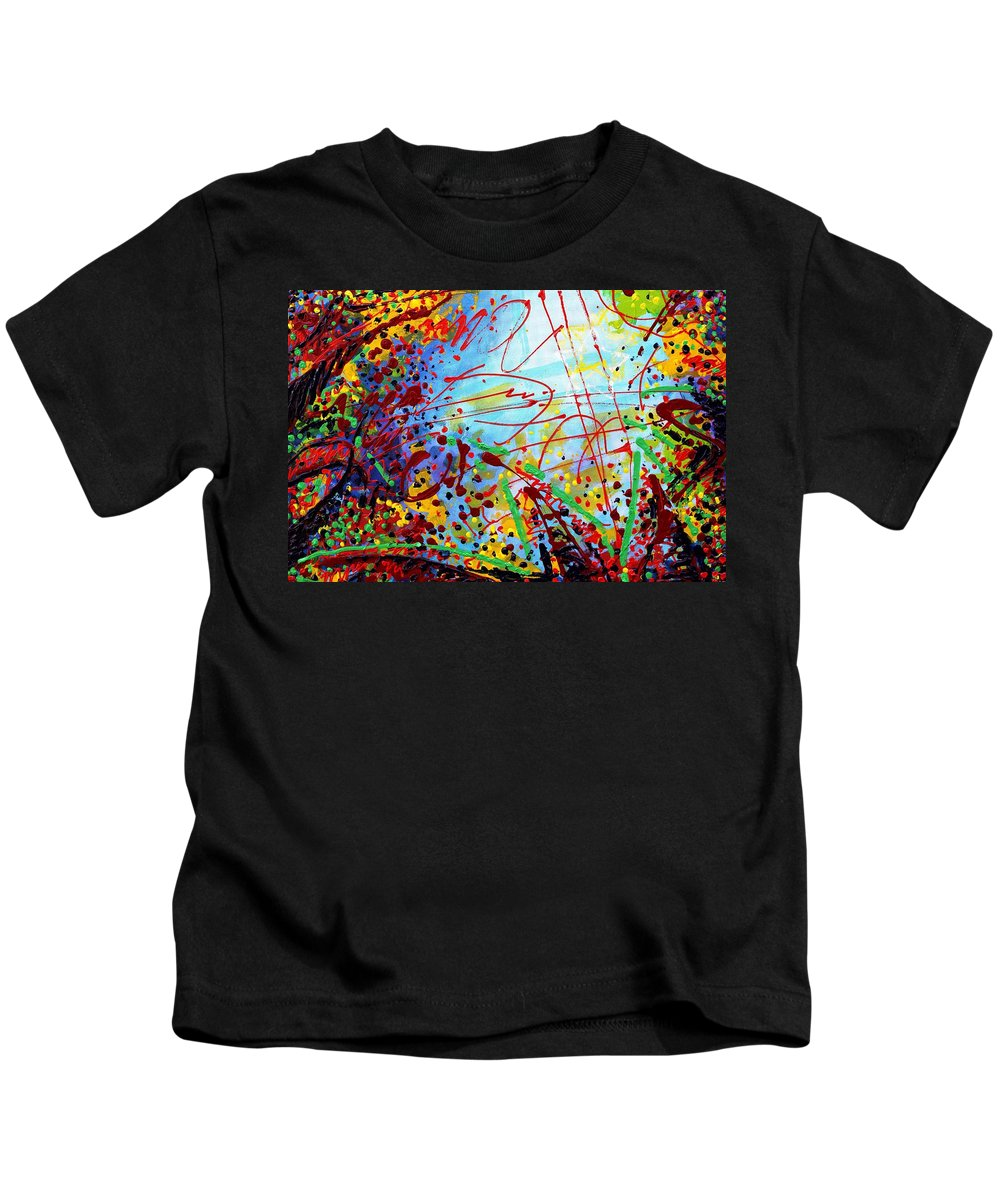 Abstract Kids T-Shirt featuring the painting Detail From To Make Visible The Invisible II by John Nolan