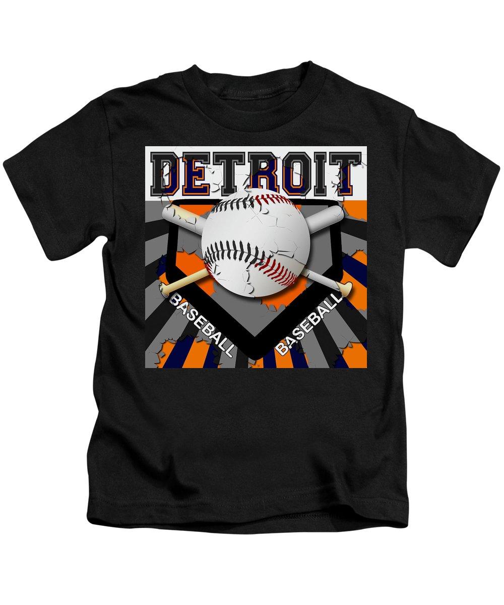 Detroit Kids T-Shirt featuring the digital art Detroit Baseball by David G Paul