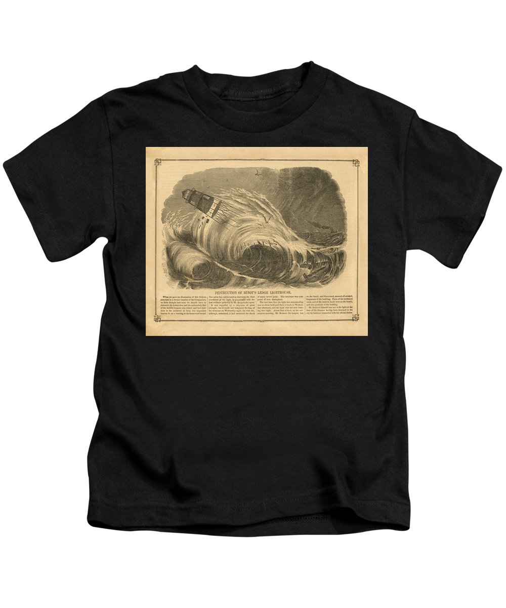 Light Kids T-Shirt featuring the drawing Detstruction Of Minots Ledge Lighthouse by Jerry McElroy