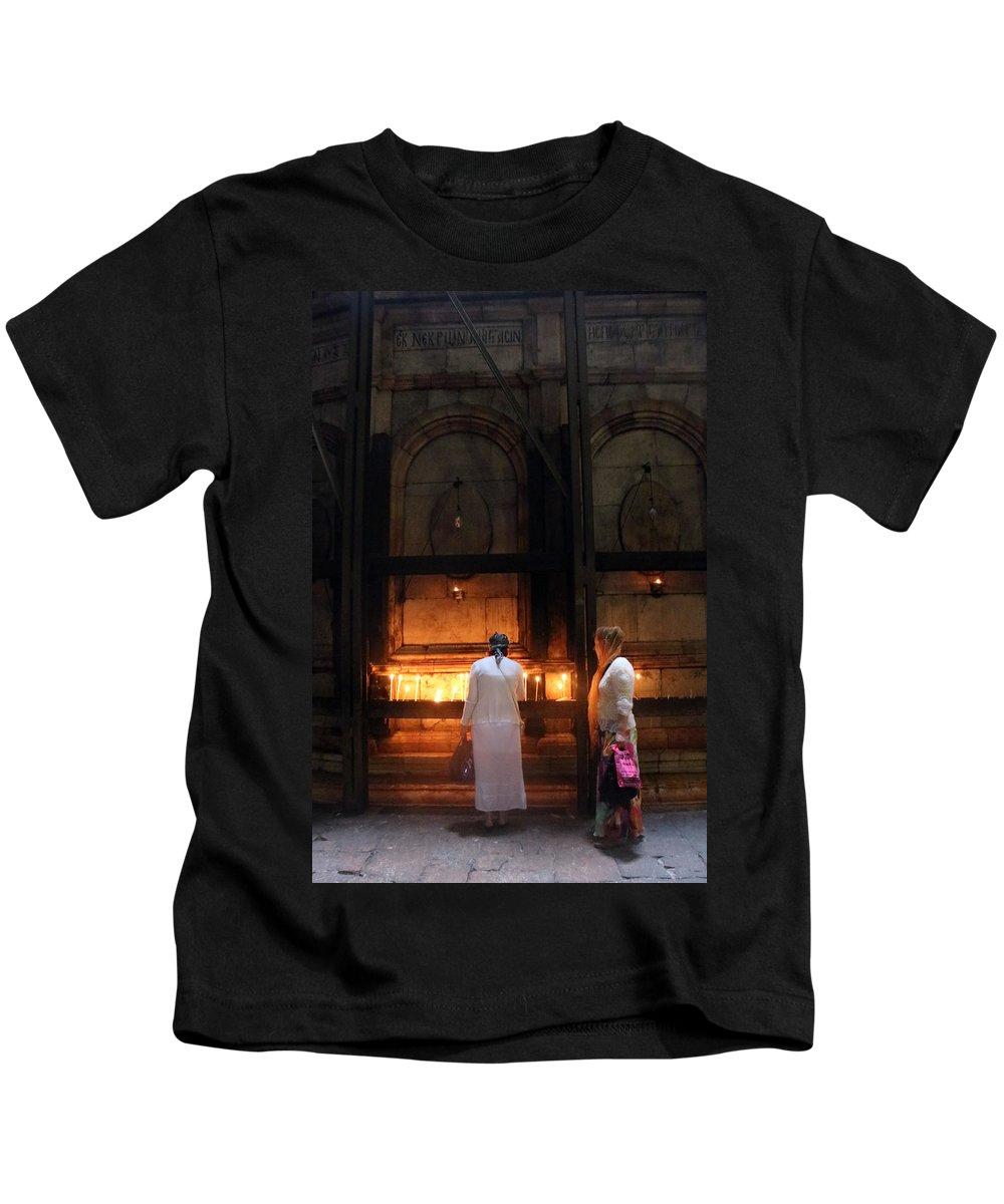 Devotion Kids T-Shirt featuring the photograph Devotion In Jerusalem by Munir Alawi